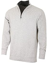 Men's Solid Liquid Cotton Long Sleeve Quarter-Zip Pullover, Heather Grey, XXL