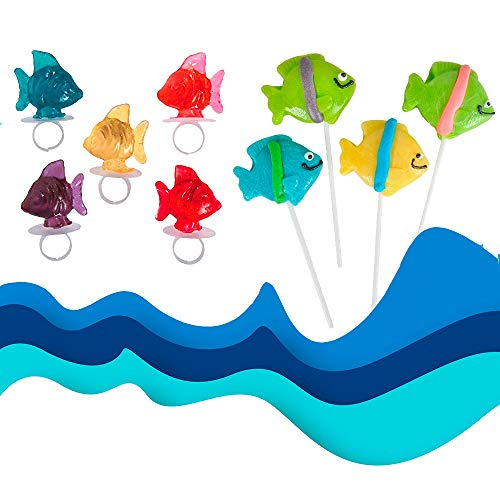 Ring Tropical Fish - 24 Tropical Fish Lollipops | 12 Candy Ring Pops and 12 Suckers in Assorted Fruit Flavors | Individually Wrapped, Fat-free | Perfect Summer Party Favors