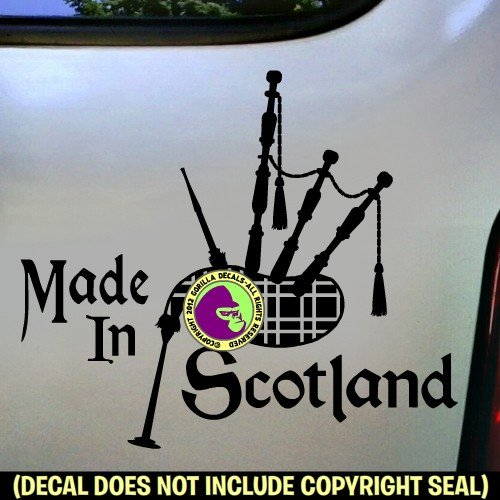 MADE IN SCOTLAND Bagpipes Musical Instrument Scottish Vinyl Decal Bumper Sticker Laptop Window Car Wall Sign BLACK (Tuner Bagpipe)