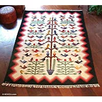 NOVICA Hummingbirds (6X8) Wool Rug
