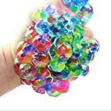 Dacawin Rainbow Mesh Ball Stress Glowing Squeeze Grape Toys Anxiety Relief Stress Ball (Multicolor)