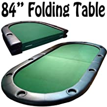 Brybelly GTAB-006 Folding Poker Table with 10 Built-In Cup Holders (84-Inch)