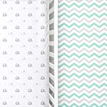 Cuddly-Cubs-Softest-Fitted-Crib-Sheets-Set-2-Pack-Toddler-Bed-Sheet-for-Boy-or-Girl-Stretchy-Jersey-Cotton-Bedding-for-Standard-Mattress-Grey-Teal-Chevron-Safari-Elephants