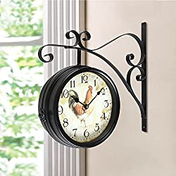 Decent Home European Two Faces (9.1inch) Dual Side Antique Vintage Circle Station Wall Side Hanging Quartz Iron Clock, Black Brown