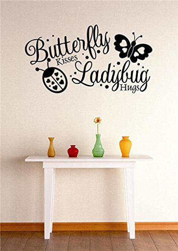 Top Selling Decals - Prices Reduced : Peel & Stick Wall Sticker : Butterfly Kisses Ladybug Hugs Stylish Decor Bedroom Bathroom Living Room Picture Art Vinyl Mural - 22 Colors Available - Size: 12 Inches X 18 Inches