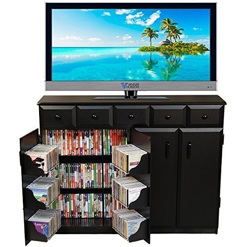Venture Horizon Media Cabinet With Drawers- Black by Venture Horizon