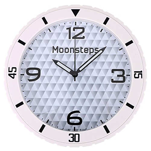 (Moonsteps Rubber Tire Frame Silent Home & Office Wall Clock, White)