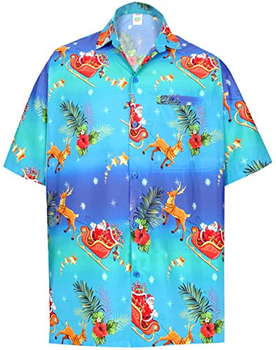 LA LEELA Mens Regular Fit Hawaiian Shirt Beach Aloha Swim Shirt for Men Printed