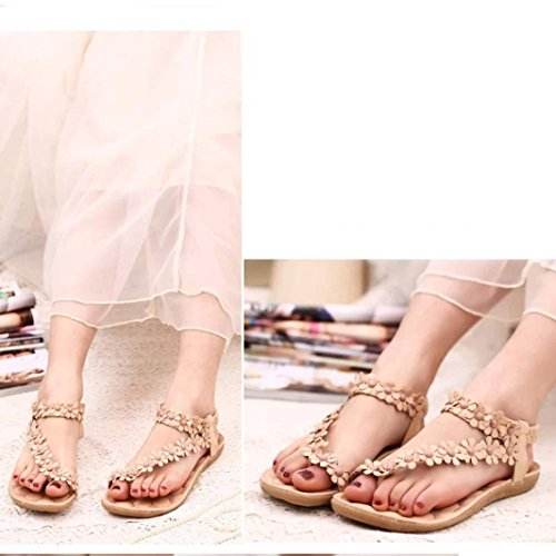 Voberry® 1 Pair Women's Fashion Sweet Summer Bohemia Sweet Beaded Sandals Clip Toe Sandals Beach Shoes Herringbone Sandals Shoes (37, Khaki new) Khaki