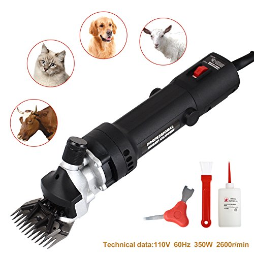 SUNCOO Electric Sheep Shears Pet Grooming Clippers for Trimming Goat Animal Hair Grooming Wool Supplies Livestock,350W (Black)