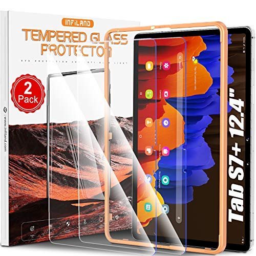 [2 Pack] INFILAND Galaxy Tab S7+/ S7 Plus Screen Protector, Tempered Glass Screen Protector with Install Tool for Samsung Galaxy Tab S7 Plus 12.4 SM-T970/T975/T976 2020 Tablet [Blue Light Blocking]