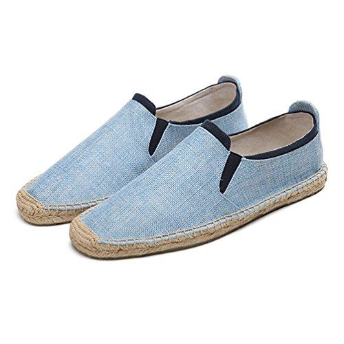 Espadrille da Pantofole Classico Rotonda Punta Azzurro on Basse Slip Uomo Loafers Jitong Mocassini Passeggio wp0qEg