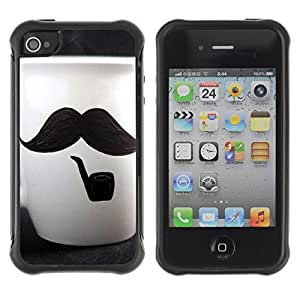 Pulsar Defender Series Tpu silicona Carcasa Funda Case para Apple iPhone 4 / iPhone 4S , Cute Moustache Cup