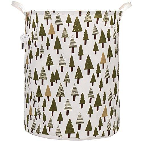 Sea Team 21.7'' Oversize Linen & Cotton Fabric Folding Nursery Laundry Hamper Bucket Cylindric Burlap Canvas Storage Basket with Waterproof PE Coating Lining (Tree) by Sea Team