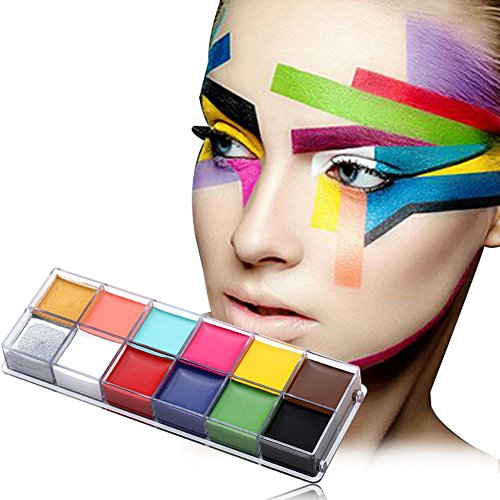 Face Paint Kit, 12 Colors Halloween Makeup, Easy on & Easy Off, Non-Toxic Paint, Vibrant Colors, Versatile Brushes, Best Face Painting Party Kits and Cosplay Body Paint Set, Perfect For Kids, Party