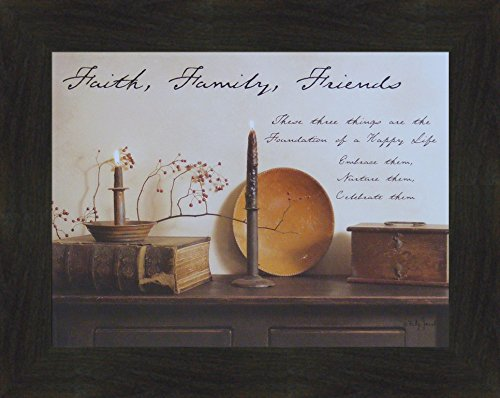 Faith Family Friends by Billy Jacobs 15x19 Country Rustic Primitive Photography Folk Art Wall Décor Framed Picture (2'' Espresso) by Home Cabin Décor