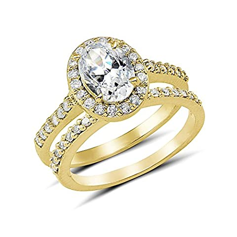 Yellow Gold Flashed Cubic Zirconia Oval-cut Halo Bridal Engagement Ring Set, Size 6 (Cubic Zirconia Gold Rings)