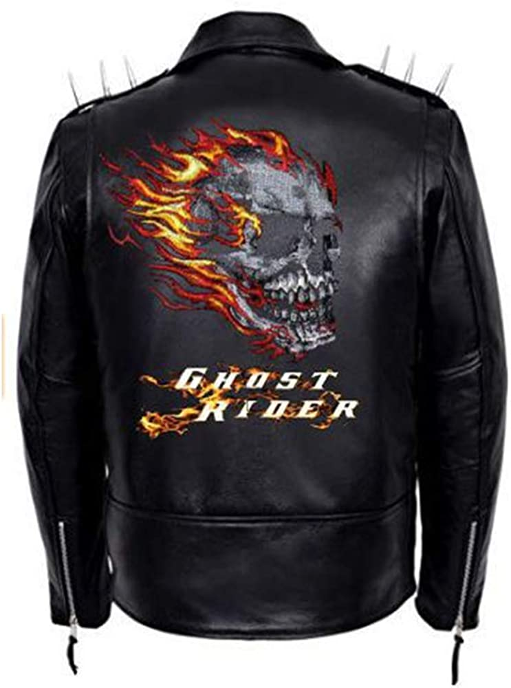 Mens Ghost Rider with Spikes and Skull Leather Jacket