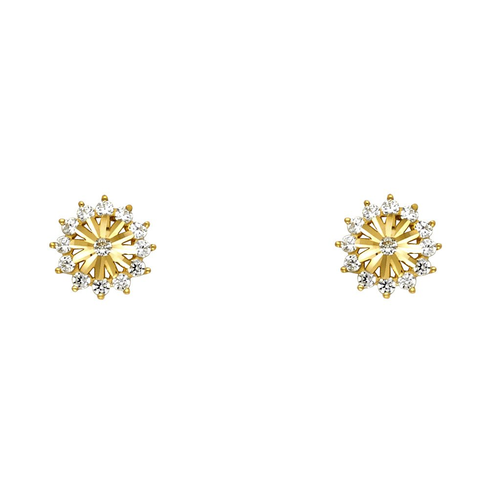 14K Yellow Gold Round Cut CZ Flower Screw Back Stud Earrings Ioka