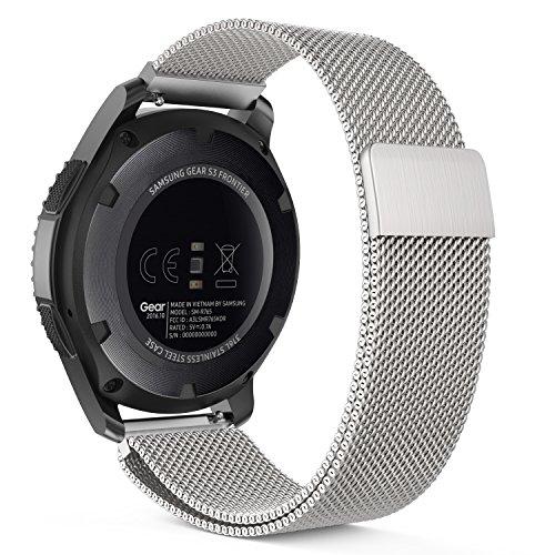 Gear S3 Watch Band, MoKo Milanese Loop Stainless Steel Mesh Smart Watch Strap for Samsung Gear S3 Frontier / S3 Classic/Galaxy Watch 46mm / Moto 360 2nd Gen 46mm Smartwatch, Silver