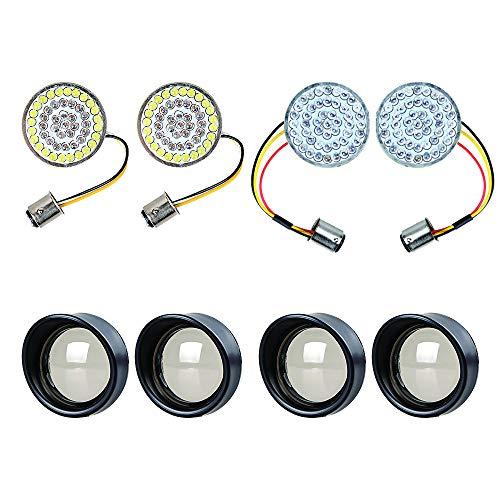 Set of 2-inch 1157 48-LED 2X AMBER/WHITE Turn Signal DRL + 2X RED Rear Light Brake Stop Lamp + 4X Visor-Style Bezels Smoke Lens - Turn Signal Visor Set
