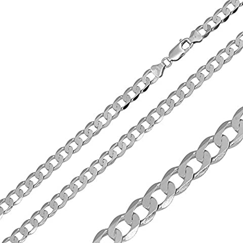 3.8mm Sterling Silver Italian Necklace Rhodium Plated Flat Curb Chain (22, 24, 26, 28, 30 Inch), 22 (Cadena De Plata Para Hombre)