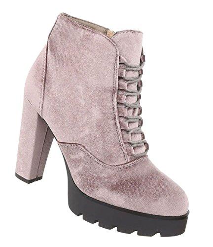 Schuhcity24 Damen Schuhe Stiefeletten High Heels Boots Hellbraun