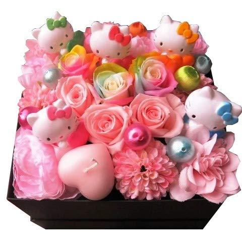 誕生日プレゼント キティ入り 花 フラワーギフト キティいっぱい4個入り レインボーローズ プリザーブドフラワー入りギフト 箱開けてスマイル ボックス(L)入りプリザーブドフラワー B07FMZHRQZ