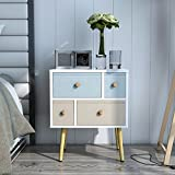 Lifewit Modern Nightstand Side End Table for Bedroom Living Room Sitting Room with 4 Drawers, White (White)