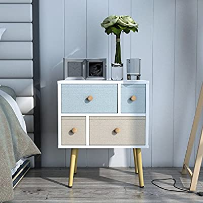 Lifewit Modern Nightstand Side End Table for Bedroom Living Room Sitting Room with 4 Drawers, White (White) - COMPACT DESIGN: Compact and elegant style makes the cabinet a great additional to any bedroom or living room. Felt pads can protect the table legs from abrasion. DURABLE CONSTRUCTIONS: Constructed out of sturdy chipboard with excellent sealing side and solid pine wood for damp-proofing, durability, high weight capacity, and long lasting use. STABILITY: Featured four solid pine wood legs to ensure maximum stability. - living-room-furniture, living-room, end-tables - 51EASMukJCL. SS400  -