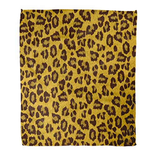 Emvency Decorative Throw Blanket 60 x 80 Inches Black Animal Leopard Skin Brown Fur Tiger Jaguar Jungle Structure Leather Real Warm Flannel Soft Blanket for Couch Sofa ()