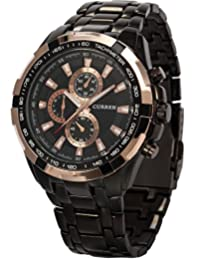 AMPM24 Rose Gold Black Men's Stainless Steel Band Analog Sport Quartz Wrist Watch CUR012