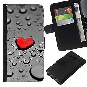// PHONE CASE GIFT // Moda Estuche Funda de Cuero Billetera Tarjeta de crédito dinero bolsa Cubierta de proteccion Caso Samsung Galaxy Core Prime / Red Heart Drop Rain /