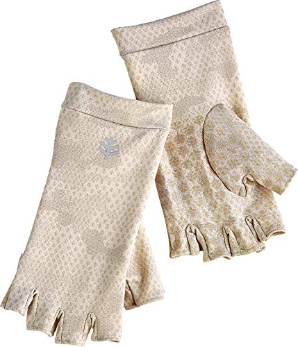 Brown Camouflage Glove - Coolibar UPF 50+ Unisex Fingerless Sun Gloves - Sun Protective (X-Small- Tan Coolibar Camo)