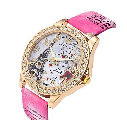 Women's Wrist Watch Vintage Paris Eiffel Tower Crystal Leather Quartz Wristwatch Best Gift (Hot - Eiffel Leather