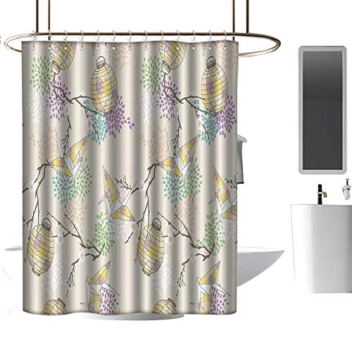Wixuewu Lantern,Shower Curtains Fabric Zen,Colorful Origami Cranes Paper Lanterns with Branches and Flowers Culture,Shower Curtain for Bathroom,W72 x L72,Lilac Pink Beige Yellow
