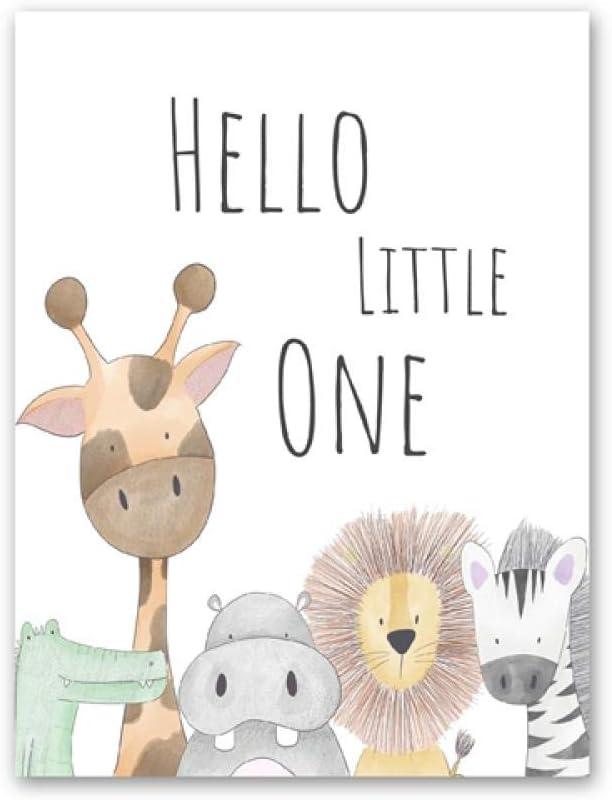 Personalised Safari Nursery Picture Hello Little One Jungle Nursery Art Prints