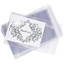 """5"""" x 7"""" Clear Resealable Display Cellophane Bags Gift Treat Basket Supplies, Adhesive Closure for Snacks, Cards, Envelope Letters, Candy, Party Supplies (100 Bags) by Super Z Outlet"""