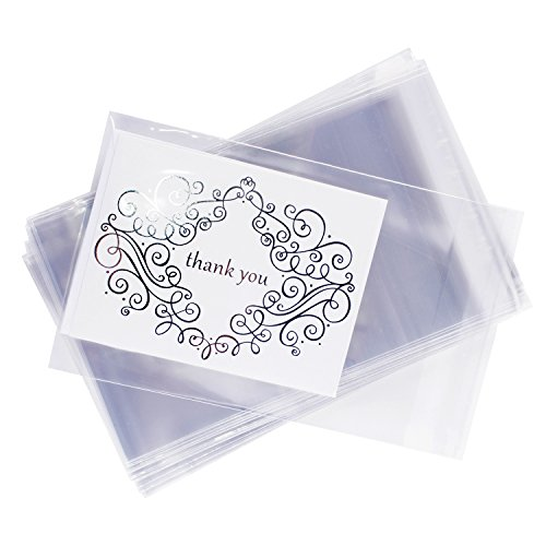 Clear Resealable Display Cellophane Bags Gift Treat Basket Supplies, Adhesive Closure for Snacks, Cards, Envelope Letters, Candy, Party Supplies (100 Bags) by Super Z Outlet (5
