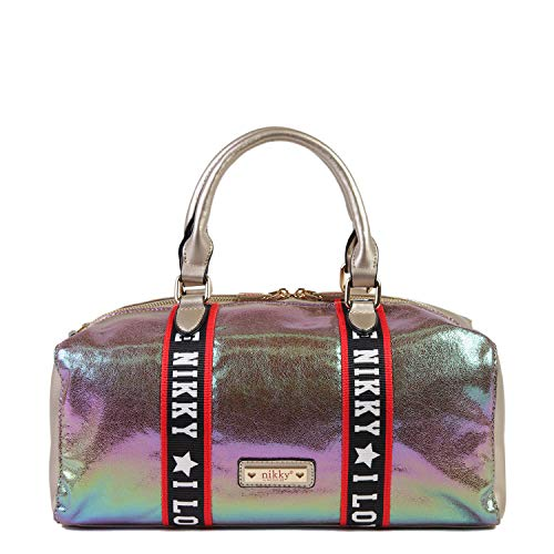 (Nikky Metallic Gold Satchel Bag for Women with Top Handles and Shoulder Strap, One Size)