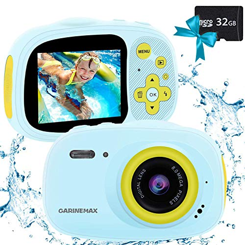 Kids Camera, IP68 Waterproof Camera for kids, HD 1080P Underwater Camera for children with 32GB SD Card / MP3 / MP4 / Games Function, Extra Stickers, Bag and Lanyard Digital Camera for Girls Boys Gift