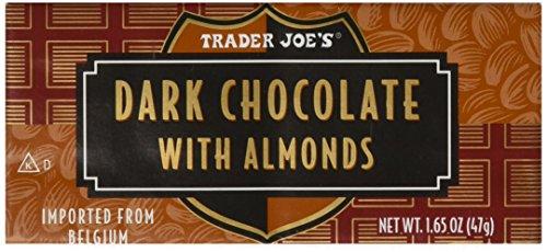 Trader Joes Belgian Dark Chocolate with Almonds, 1.65 oz Bars (2 Packs of 3)