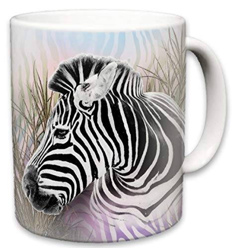 Zebra Mug | Cute Animal Ceramic Travel Mugs | Coffee Lovers Cup | Zebras Design | Great Novelty Gift | Decorative Home Kitchen Drinkwear | Multi Color | 11 Fl. Oz