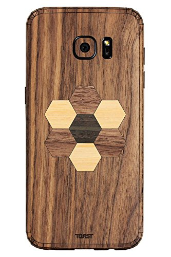 (TOAST Real Wood Skin for Samsung Galaxy S7 Edge - Retail Packaging - Walnut with Hexagon Inlay Kit )