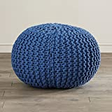 Modern Pouf Ottoman, Floor Knit Accent Ottoman, 100% Cotton, Can be used as a footrest (Cobalt)
