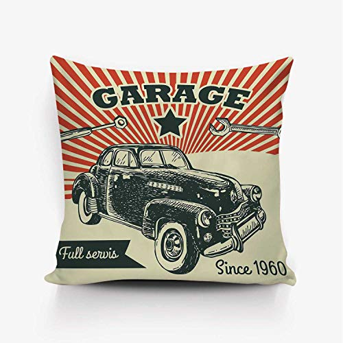 YOLIYANA Cars Soft Throw Pillow Cover,Retro Car and Garage Advertising Poster Style Picture with Grunge Effects 1960s Theme for Home Office,26