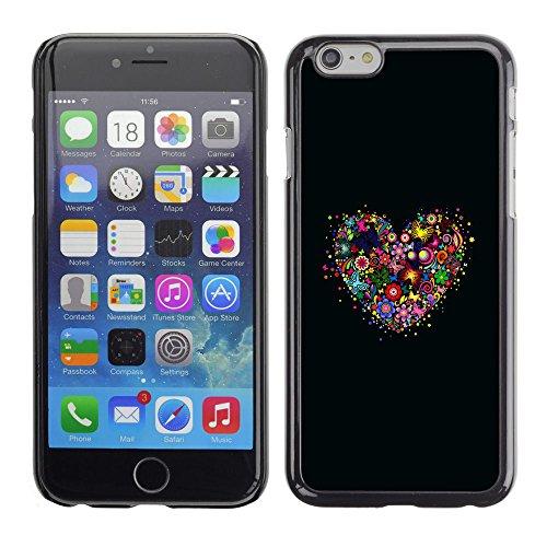 TaiTech / Case Cover Housse Coque étui - Flower Heart Black Nature Spring Love - Apple iPhone 6