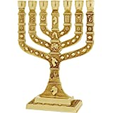 Gold Plated Menorah Paint By Enamel Decorated with Symbols of 12 Tribes