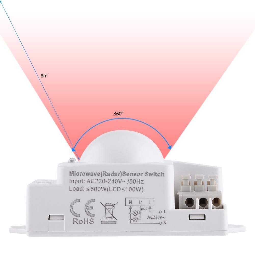 Interruptor De Luz De Radar Interruptor De Luz De Microondas De 360 Grados Detector De Movimiento De Radar 500w Interruptor De Luz Inteligente De Sensor De ...