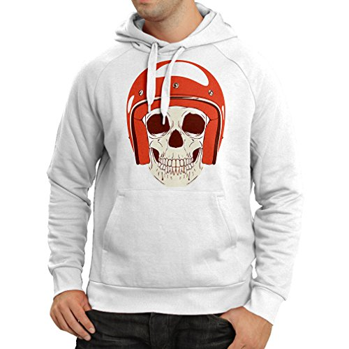 Hoodie Moto Skull with Cap Helmet- Motorcycle Clothing, Motorbike Apparel, Riding Gear (XXX-Large White Multi Color)]()